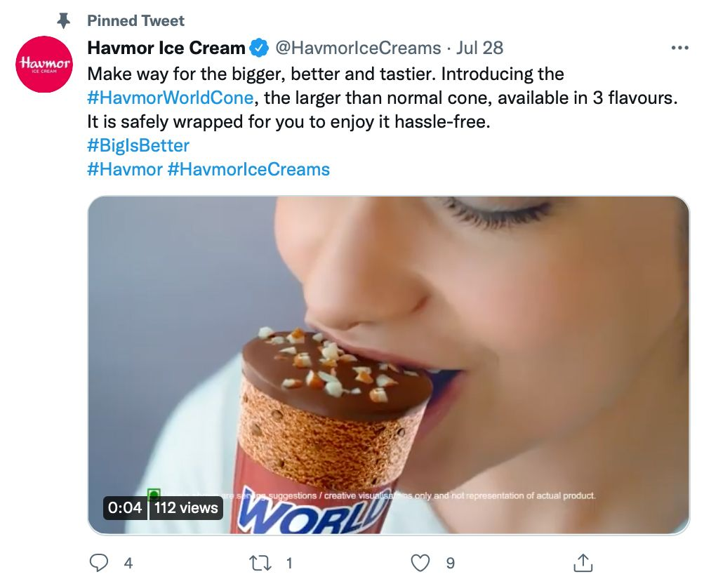 Pinned tweet by @HavmorIceCreams includes video media and hashtags - pinned tweet ideas