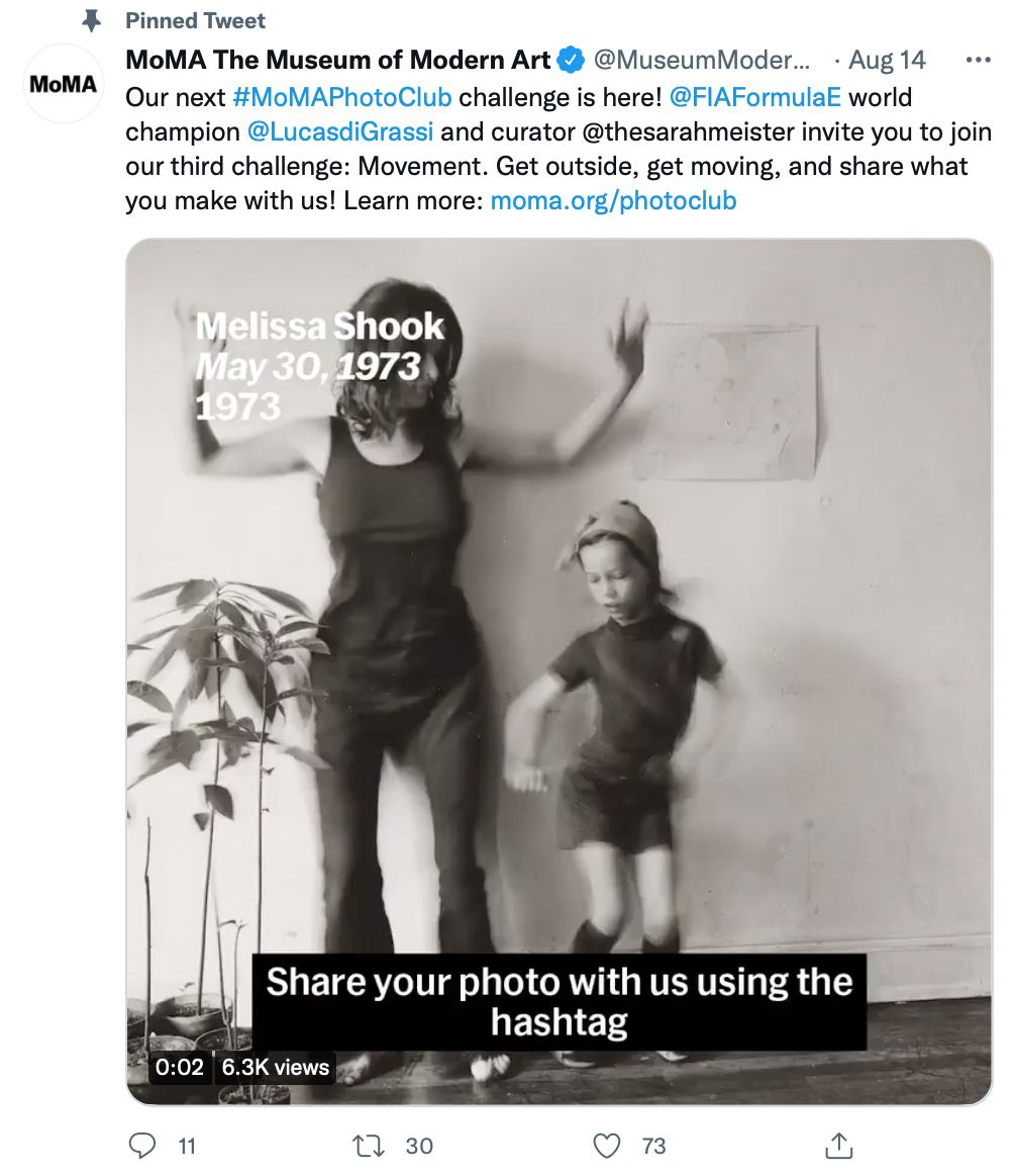 Pinned tweet by @MuseumModernArt encourages involvement from the audience - pinned tweet ideas