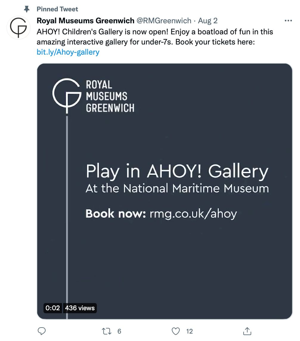 Pinned tweet by @RMGreenwich shares gallery and booking information - pinned tweet ideas