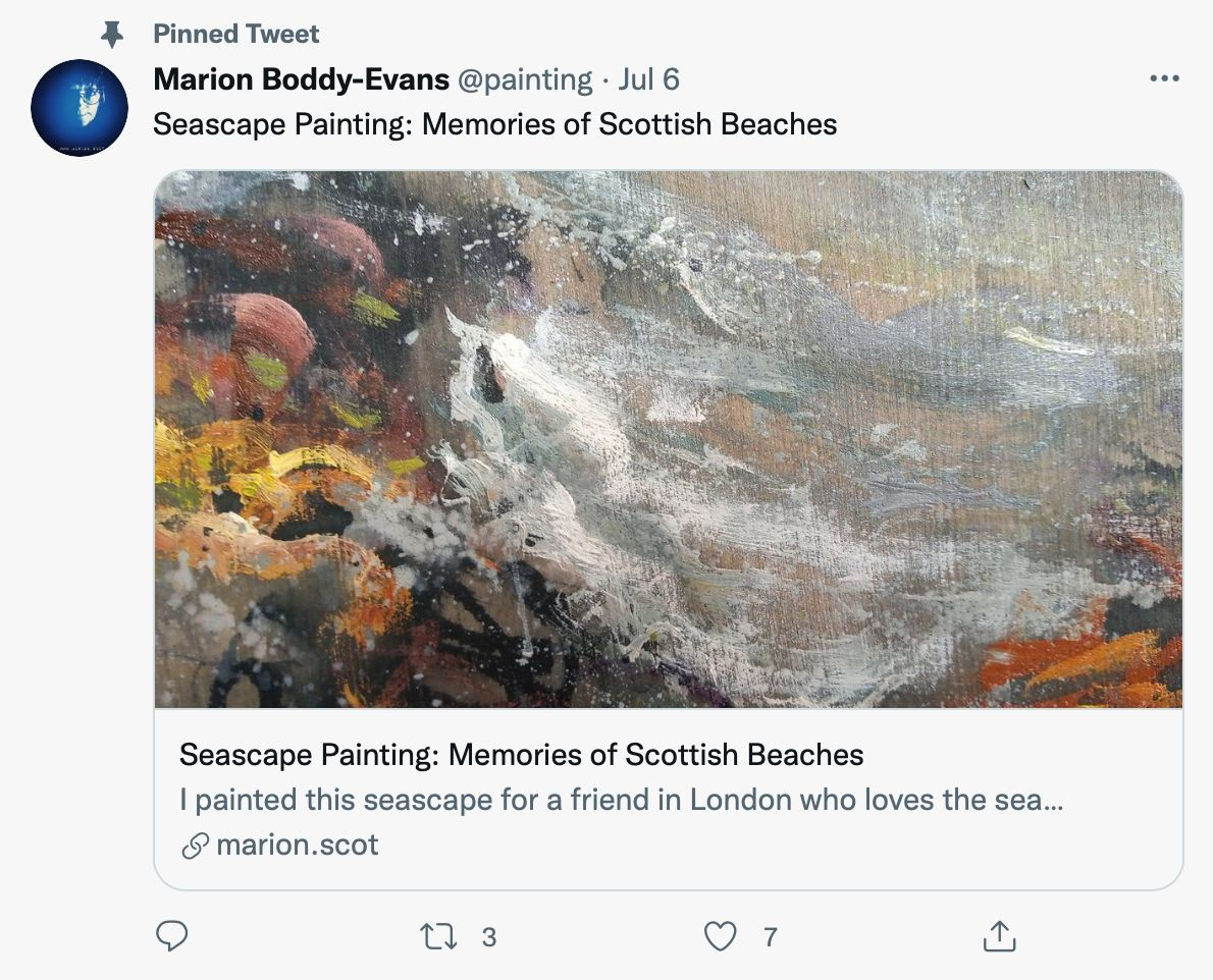Pinned tweet by @painting links with an image to visual work - pinned tweet ideas