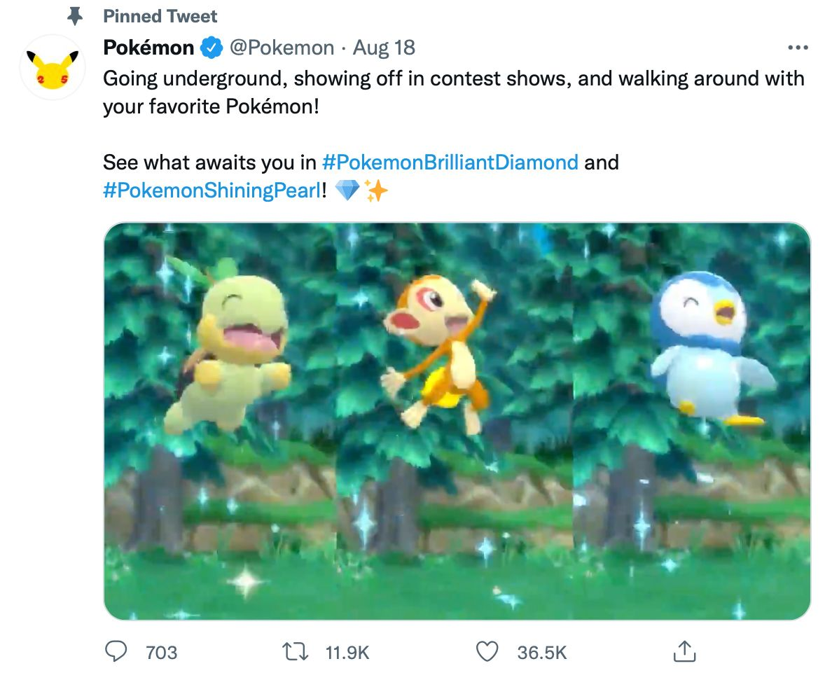 Pinned tweet by @Pokemon includes hashtags, a video and inviting copy - pinned tweet ideas