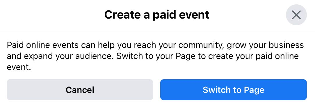 Paid events must be hosted by a Facebook page you manage