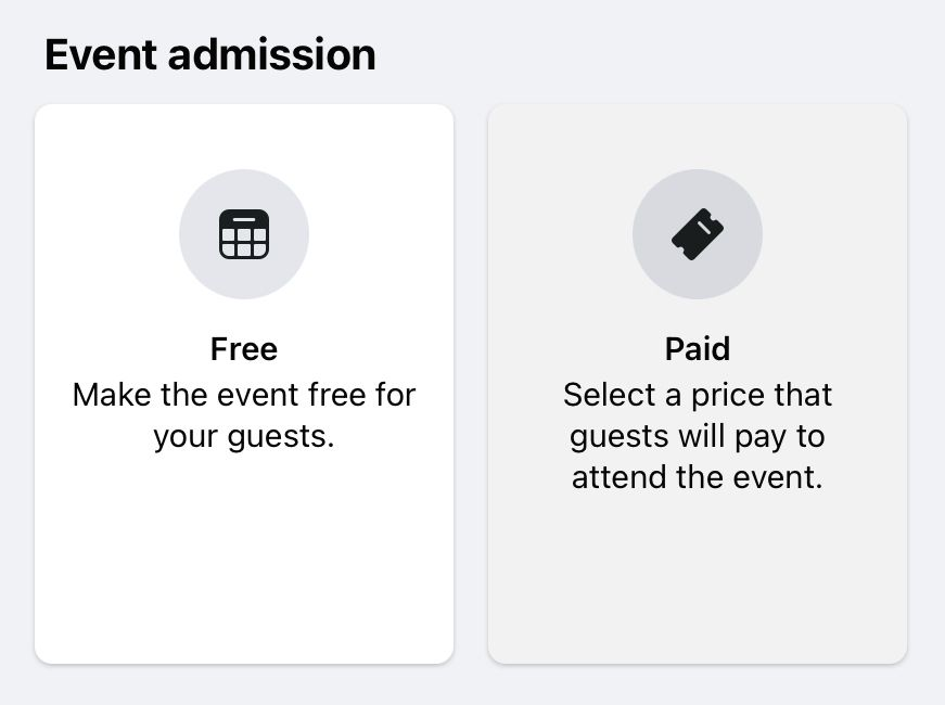 Decide whether you will be monetising your Facebook online event or allowing free admission