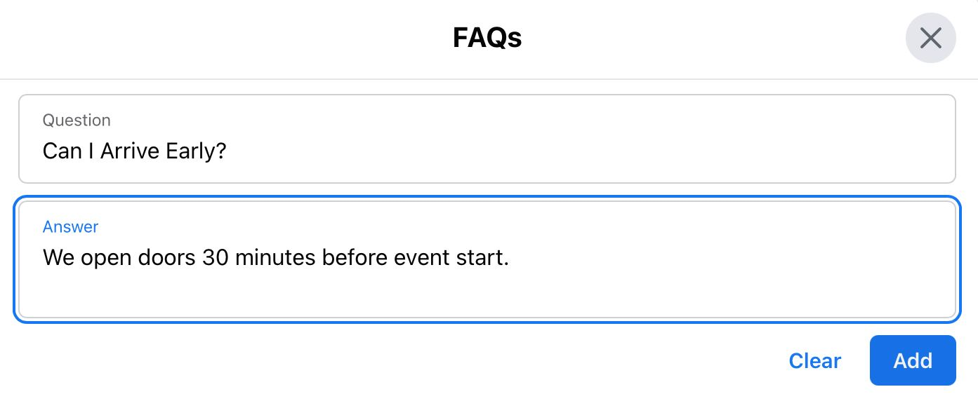 Insert FAQs into your Facebook event information