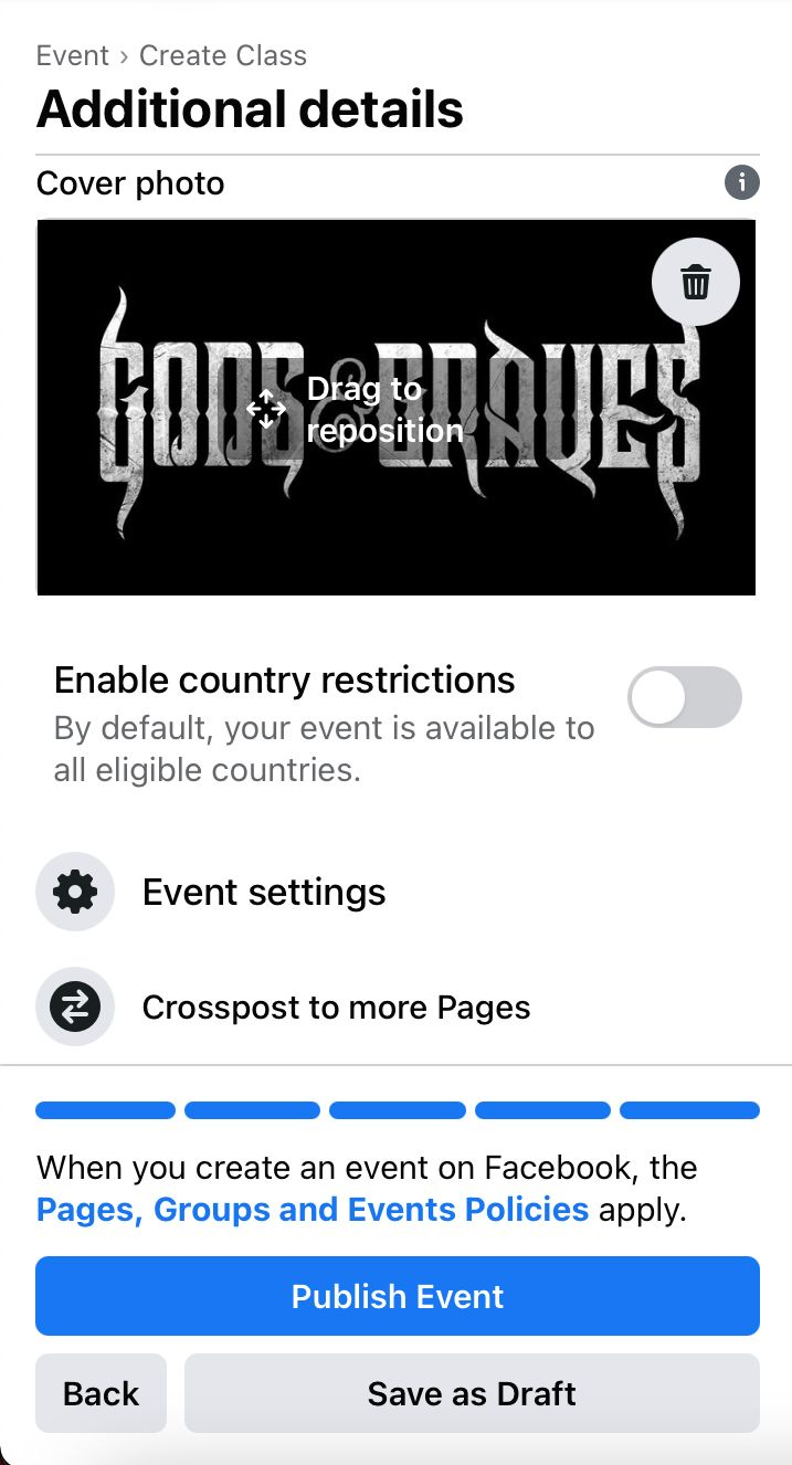 Change the cover image, dive into event settings and crosspost to more Facebook pages you manage