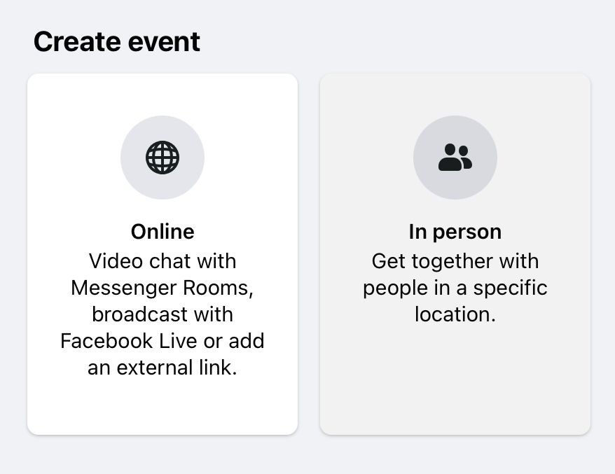 The first step in Facebook event creation is to select 'In person' from the two Facebook event creation options