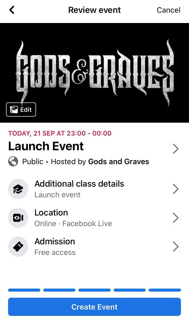 Review the details of your Facebook event before hitting the 'Create Event' button