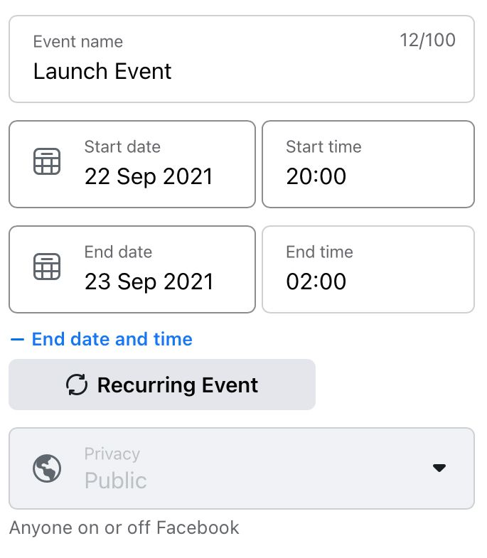 Fill in the event name, date and time details and whether the Facebook event is recurring
