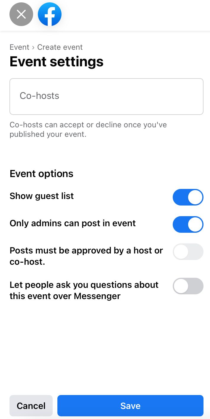 In the 'Event settings' you can add co-hosts to your Facebook event and toggle various posting options