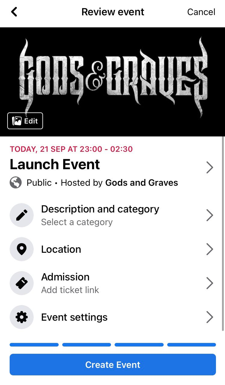 Review the Facebook event details before finishing the event creation