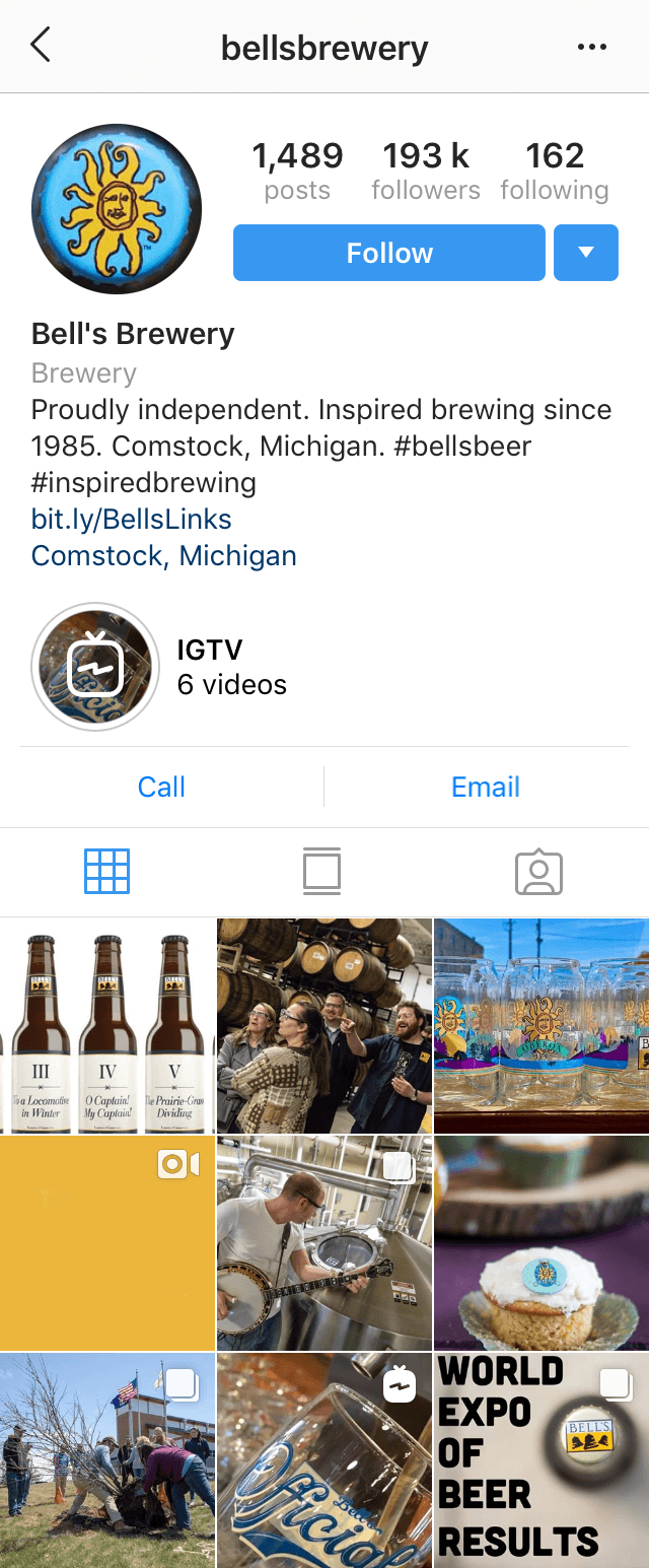 @bellsbrewery Instagram profile