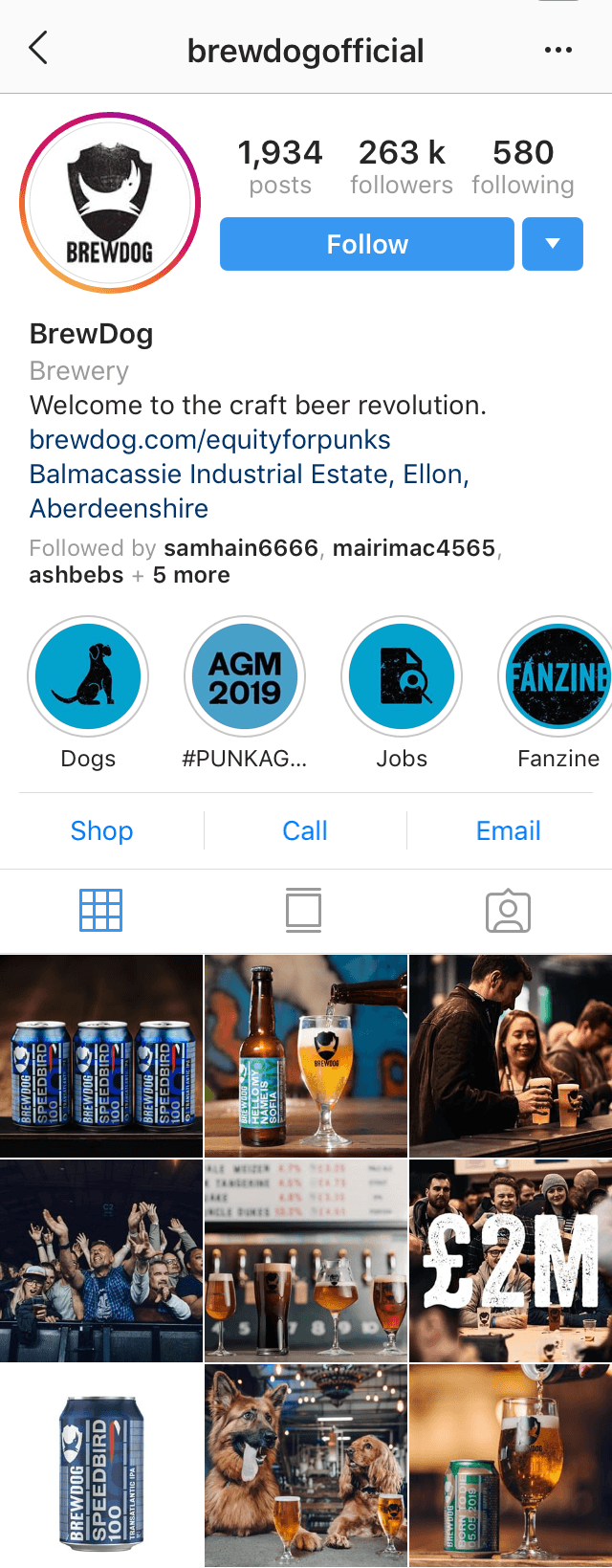 @brewdogofficial Instagram profile