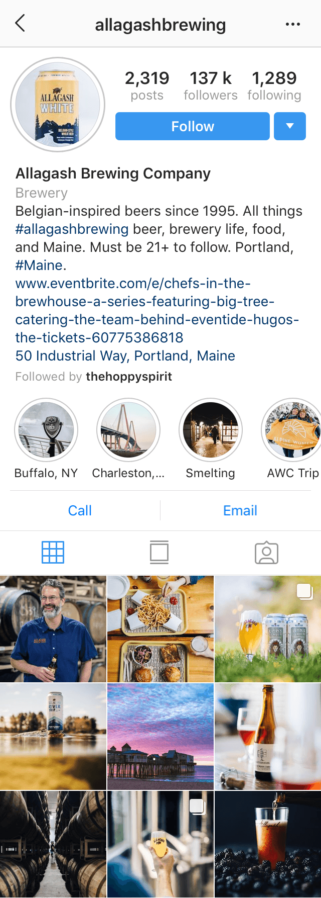 @allagashbrewing Instagram profile