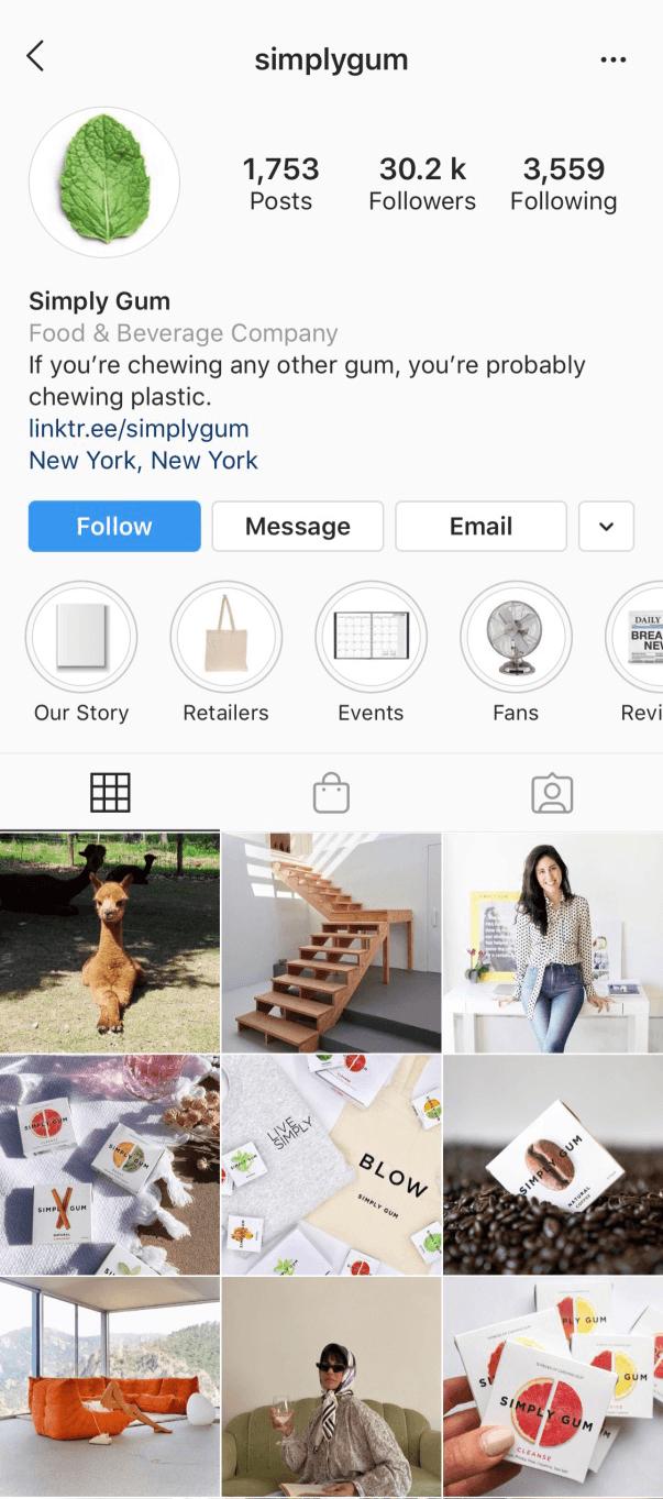 Instagram Profile of Simply Gum.