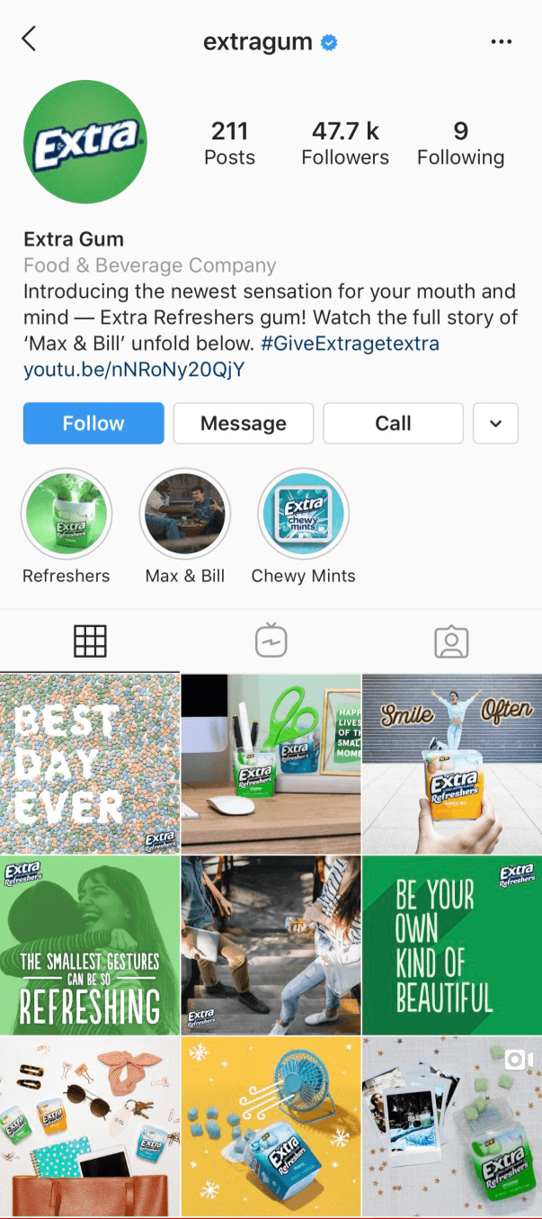 Instagram Profile of Extra Gum.