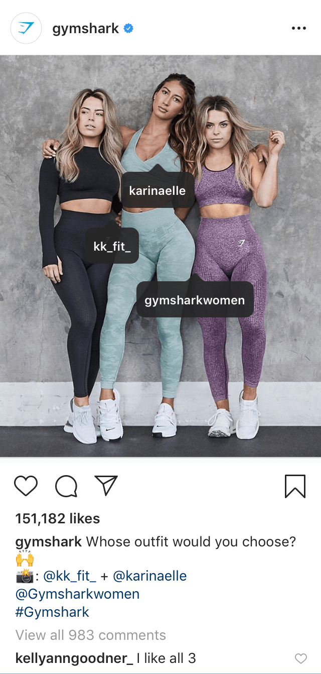 @gymshark post featuring tagged models and @Gymsharkwomen profile in the description