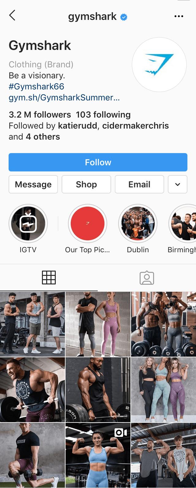 @gymshark Instagram profile