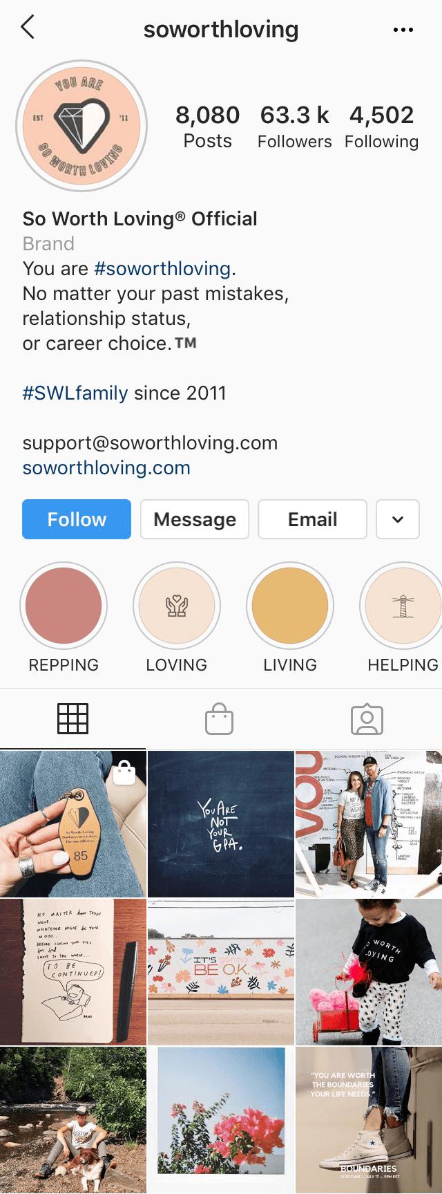 Instagram profile of @soworthloving