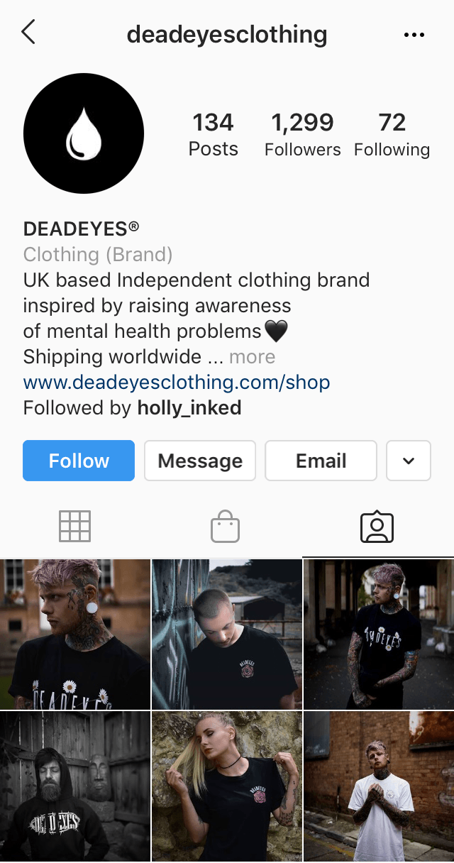 Tagged posts section of the @deadeyesclothing Instagram profile