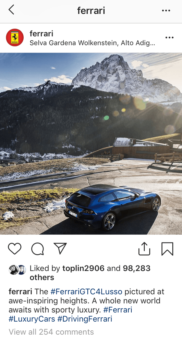 @ferrari have used a location tag which is highly relevant to their Italian design. Their hashtag use combines specific and broader terms to increase their discoverability.